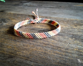 Pastel Friendship macrame bracelet with tassel summer boho jewelry woven in Salmon Cream and Gray braided by Mariposa