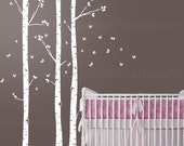 Birch Tree Wall Decal | Assorted Butterflies | Custom Baby Nursery, Children's Room, Living Space Interior Design | Application 017