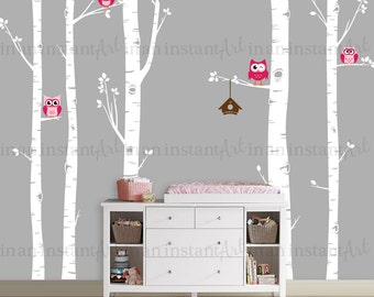 Owls and Birch Tree Wall Decal, Birch Trees, Birch Forest, Birch Tree Owl Wall Vinyl for Nursery, Kids or Childrens Room 006
