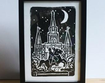 Jackson Square at Night - Linocut Print - New Orleans