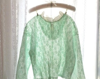 Boho Bohemian Spring Alice in wonderland fairytale Pastel Soft Sweet mint green Victorian High Ruffle Collar Lace Long Sleeves Top Blouse