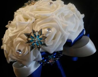 Bride to be Brooch Bouquet 29.00 & FREE shipping/ Gorgeous /White Ivory Roses and Blue Rhinestone Brooches/ Beautiful