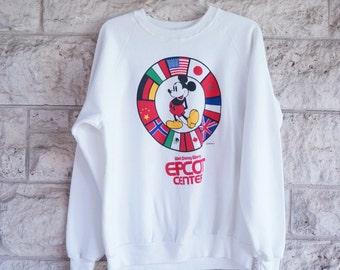 Mickey Mouse Sweatshirt Epcot Vintage Sweatshirt Walt Disney Xl Mickey Shirt Disney Clothing Xl Epcot Center Shirt