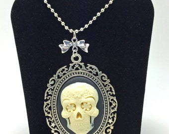 Skeleton Necklace, Steampunk Necklace, Goth Necklace, Cameo Necklace, Day of the Dead, Dia de los Muertos Necklace, Rockabilly Necklace