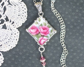 Necklace, Broken China Jewelry, Broken China Necklace, Pink Rose, Sterling Silver, Soldered Jewelry