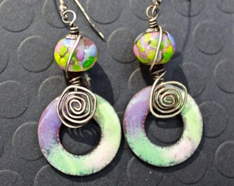 Enamel Earrings, Handmade Lampwork Beads, Purple Pink and Green, Sterling Silver