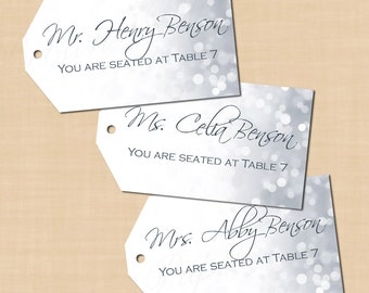 Silver Shimmer Hang Tags (2x3.5, Landscape): Text-Editable in Microsoft® Word, Printable on Avery® Template 22802 & 22812, Instant Download
