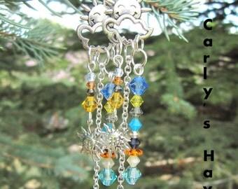 Handmade silver tone sun/cloud dangle earrings with blue/yellow/orange Swarovski crystals, ready to ship, summer jewelry, made in Montana