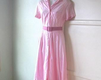Candy Pink 1950s Shirtwaist Dress; Medium - '50s Pink Cotton Day Dress
