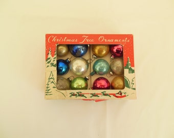 Mini Glass Christmas Tree Ornaments Box of 12 Multi Colored Balls Made in Japan