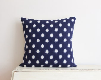 "Limited edition Indigo Ikat pillow cushion cover 20"" x 20"""