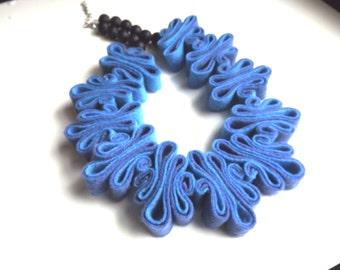 Felt Necklace Jewelry Boho Bib Necklace, Eco Recycled,Eco Felt, Cobalt Blue Necklace, Something Blue, Felted, Ecofriendly Necklace Felt