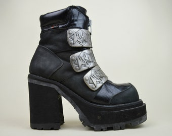 90s Rare Grunge Goth Industrial Destroy Black Leather Suede Three Buckle Chunky Heel Zipper Platform Ankle Boots UK 5.5 / US 8 / EU 38.5