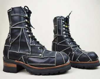 90s Grunge Punk Industrial Buffalo Black Patchwork Leather Goodyear Welt Chunky Lace Up Ski Hooks Ankle Boots UK 6 / US 8.5 / EU 39