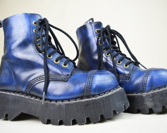 90s Grunge Punk Grinders Blue Leather Distressed Rubbed Effect Chunky Rubber Tread Lace Up Steel Toe Platform Boots UK 4.5 / US 7 / EU 37.5