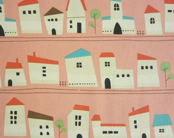 SALE | Kokka Japanese fabric - houses in pink - 1/2 YD