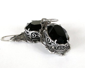 Black Gothic Crystal Earrings Swarovski Black Earrings Black Gothic Wedding Earrings Victorian Gothic Jewelry