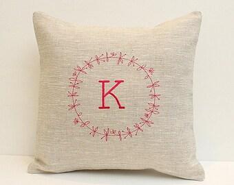 Decorative pillow Personalized cushion pillow case Monogrammed pillow Oatmeal linen pillow Monogram pillow embroidered Decorative pillow