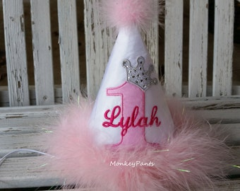 Girls Birthday Hat - Princess Party Hat - Baby Girls 1st Birthday - Personalized - Ages 1 thru 9 - Pink and White Party Hat