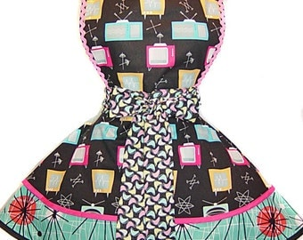 "Kerry Beary Atomic TV Retro Apron--A ""Tie Me Up Aprons"" Exclusive Pinup Apron"