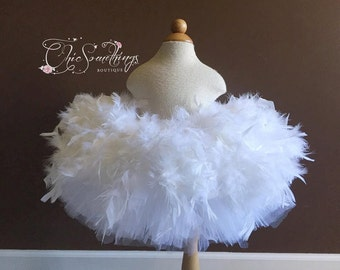 Feather tutu, white feather tutu, first birthday tutu, baby tutu, feather tutus, feather costume tutu, tulle and feather tutu, custom tutu