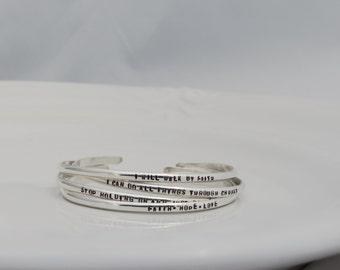 Mantra Bracelet - Engraved Sterling Silver Cuff Bracelet - Personalized Cuff Bracelet -  Hand Stamped - Hammered Bracelet