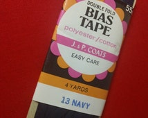 Vintage J & P Coats Double Fold Bias Tape ~ 13 Navy ~ 4 Yds
