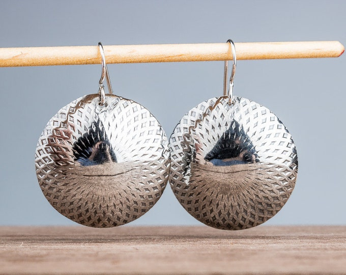 Big Round Circle Mandala Dangle Drop Earrings in Sterling Silver - Huge gypsy bohemian earrings - Embossed texture statement disc earrings