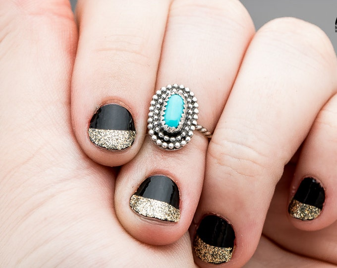 Midi Ring - Sleeping Beauty Turquoise Ring in Sterling Silver - Size 3