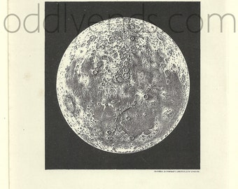 1905 Moon, Original Vintage Space Astronomy Print