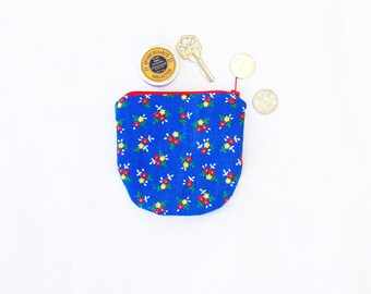 coin purse, coin pouch, change purse, zipper coin purse, gift for her, girlfriend gift, womens gift, retro fabric, birthday gift for her