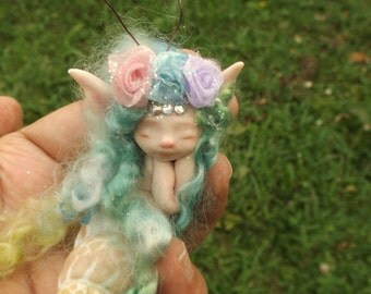 sweet fairy fairie mermaid in  shell  ooak