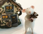 Needle Felted Mouse - Original artwork designed and created- by Golden Thread Design