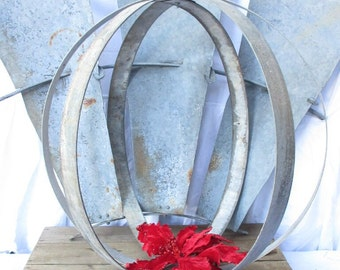 Wine Barrel Metal Ring Garden Orb or Sphere/Holiday Metal Orb Decor/Christmas Front Porch Decor/Metal Orb/Metal Sphere/Orb Hanging Light