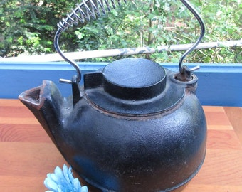 Cast Iron Tea Pot/Wood Stove Tea Pot/Rustic Tea Serving Pot/ Cast Iron Home Decor
