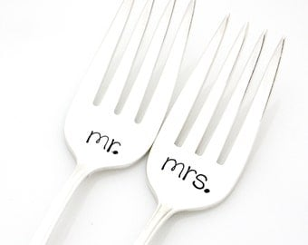 Wedding forks, Mr and Mrs Table Setting. Engraved silverware for unique engagement gift.