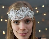 Bridal Sash with Vintage beaded lace appliqués and Vintage Rhinestones. Can also be worn as a Bridal Headband