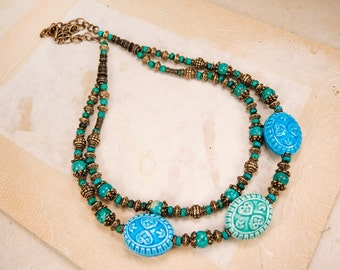Brass Turquoise Ceramic Necklace with natural stones Porcelain Brass Ethnic Necklace