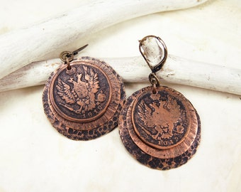 Copper Coin Earrings with antique coins