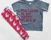 "TODDLERS WSU COUGARS ""Pullman is my Happy Place"" T-Shirt"