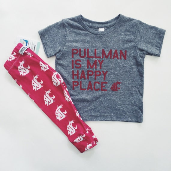 """WSU COUGARS """"Pullman is my Happy Place"""" T-Shirt"""