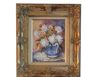 Floral Oil Painting with Gold Frame Artist