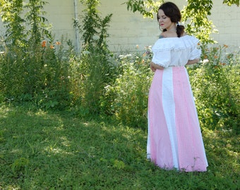 Vintage pink gingham maxi skirt, A-line, white eyelet lace boho long cotton prairie frontier pioneer XL plus size