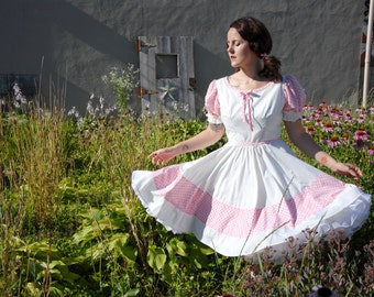 White swing dress, pink gingham square dance western boho 1950s 1940s style M