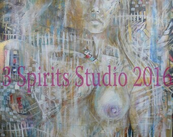 """Original Large Abstract Painting of Nude Female Figure- """"Becoming"""""""