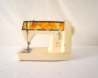 Vintage Singer Sewing Machine Genie 70s Mod Flower Child