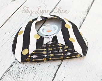 Bandana Binky Bib Reversible Boho Black White Gold Baby Shower Gift