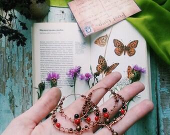 Bohemian hoops - Boho Gypsy Earrings - Blue Wire Wrapped Copper Hoops - Hippie Boho - Boho Chic Earrings- Filigree Blue Earrings