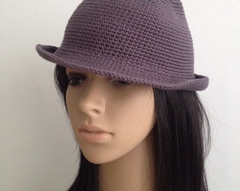 Crochet Fedora....Crochet Cloche.....Crochet Fedora Hat..... Crochet  Hat...Woman  Accessories... Handmade Fedora
