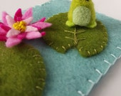 Tiny Needle Felted Frog and Lily Pad Pond